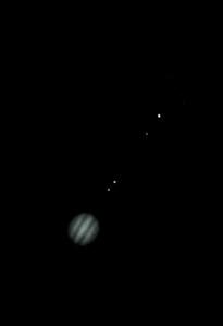 Jupiter and moons Io, Ganymede,  Europa and Callisto