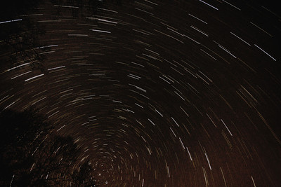 Star trails.  This is a 30 minute exposure taken on a very clear and dark night at around 1:00 AM