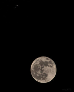 Moon and Jupiter with Jupiter's moons in the distance....  A perspective