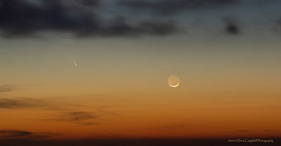 March 12, 2013,  Thin crescent moon and the comet panSTARRS in close proximity.  This 20 second exposure allowed for a nice view of the comet and the whole moon!