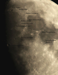 Moon closeup with some of the key features identified
