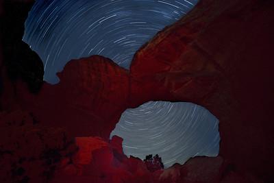 Star Trails through Broken Arch in Arches National Park