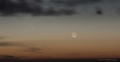 A little more subtle...  Comet PanSTARRS with a cresent moon over the Snowbird mountains