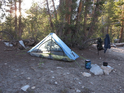 A great sheltered spot for my first night's camp