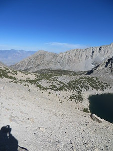 View to east from Kearsarge Pass; Big Pothole Lake at lower right