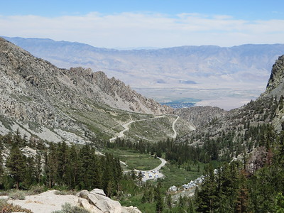 On the ascent, looking back at trailhead, access road, and Independence on the Owens Valley floor far below