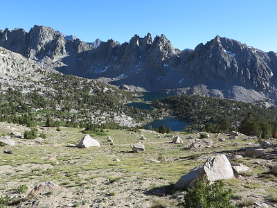 Kearsarge Pinnacles from the north, and some of the Kearsarge Lakes