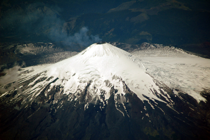 Smoking volcano in the Andes