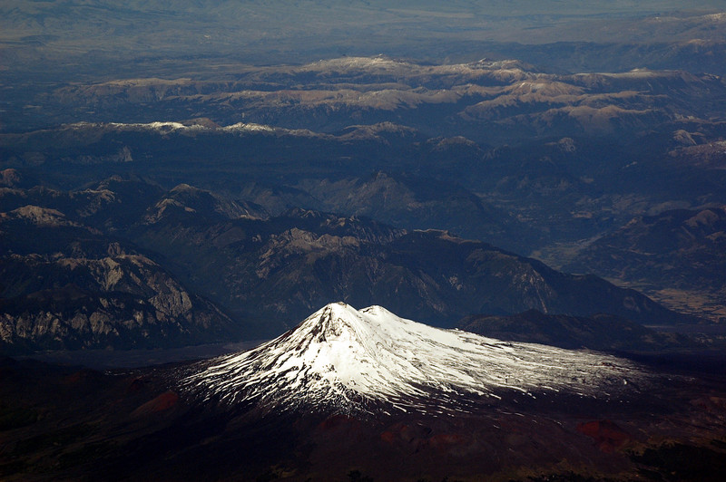 Snow-covered volcano from the air