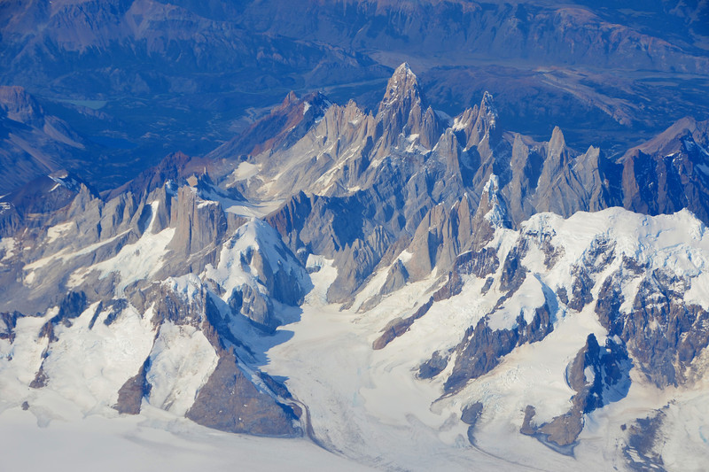 Fitz Roy through the window of an airplane