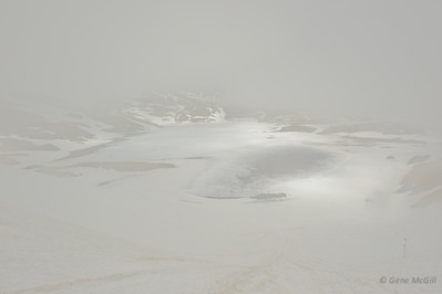 Crater Lake appearing in the mist, Chilkoot Trail