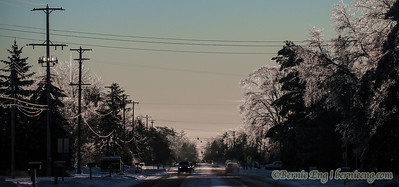 Ice-covered trees and powerlines line Brockway west of Center on Christmas Eve.