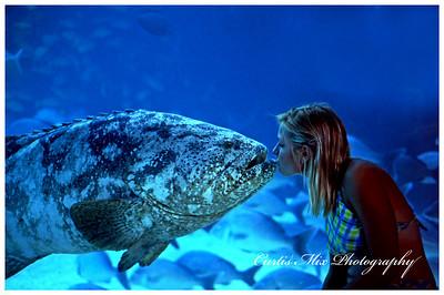 Kristi kissing a fish. This is an aquarium at Atlantis resort in the Bahamas.