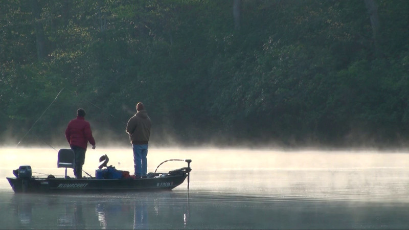 Early morning, spring fishing in a cove--Clifton, Va.