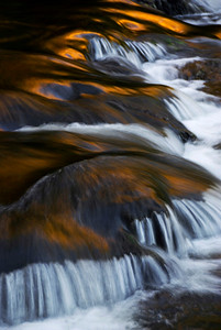 A small cascade on the river along the trail to Abrams Falls, Great Smoky Mountains.