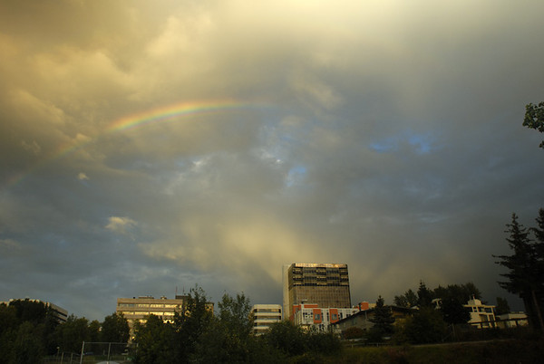 This rainbow appeared just before sunset during a series of showers that are so common in September around Anchorage, Alaska.