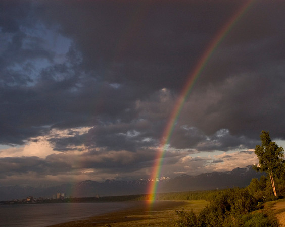 This rainbow photograph was taken looking across Cook Inlet at Anchorage, Alaska from Earthquake Park.