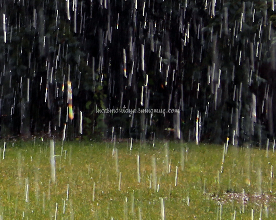 Rain/Hail Mix with Sunshine Prisms in Colorado Springs, Colorado - 23 June 2016