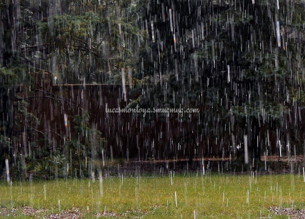 Rain/Hail Mix with Sunshine Prisms in Colorado Springs, Colorado - 23 June 2016