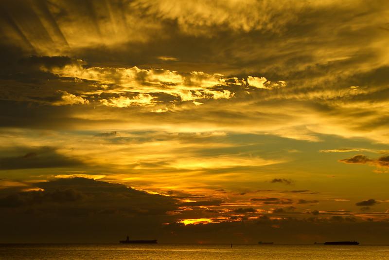 Sunset on the Malacca Straits Malaysia