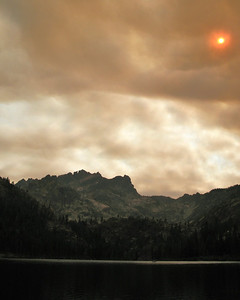 In late 2007, a major fire erupted 180 miles NW of where we were.  The smoke and clouds came in and created a mid-day sunset color palette.
