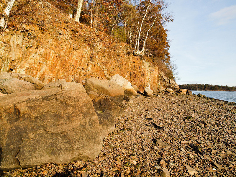 Cliffs, boulders and broken shale (I think it's shale) make up the landscape at Adams Point on Great Bay in NH.