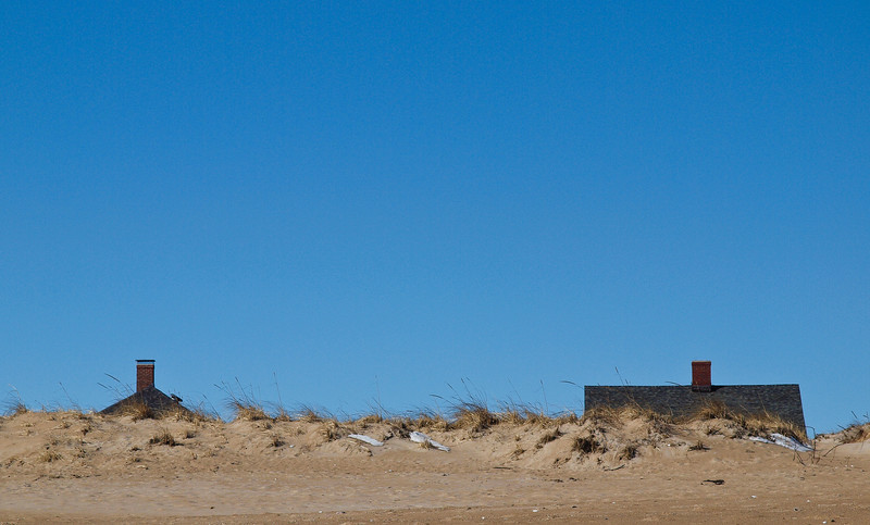 Houses beyond the dune line at Seabrook Beach, NH