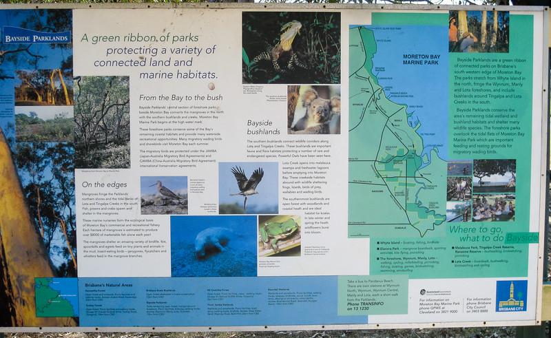 Bayside Parklands - Map - Information - Wynnum Mangrove Boardwalk & Wynnum North Reserve; Wynnum North, Brisbane, Queensland, Australia; 17 October 2012. Photos by Des Thureson