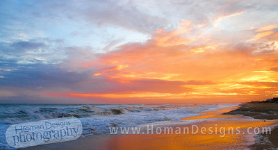 Oct. 11 sunset over the Atlantic Ocean at Emerald Isle. Bogue Inlet pier on the horizon.