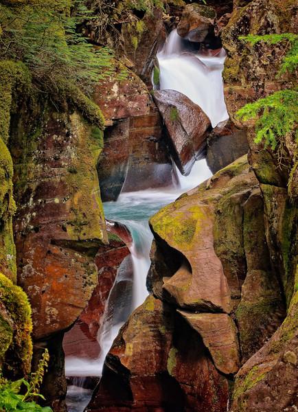 Cascade in Avalanche Creek in Glacier National Park, MT