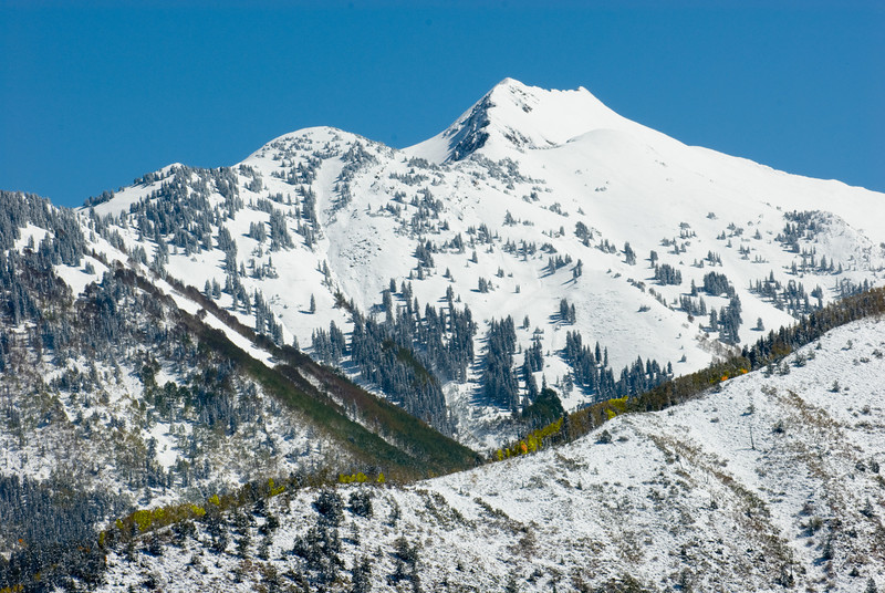 This mountain is part of the view from near the summit of McClure Pass.  Colorado.