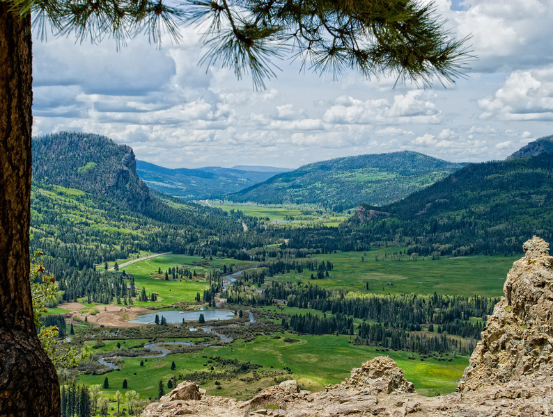 A view from Wolf Creek Pass looking west towards Pagosa Springs.  Colorado.