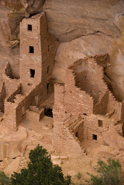 Mesa Verde, Colorado.  One of the cliff dwellings built by the Ancestral Puebloan people, frequently called the Anasazi.  The Anasazi are believed to have abandoned the site sometime around 1300.  When you look at the site selection for these dwellings it is immediately apparent that they were selected primarily as defensible positions, not for convenience.