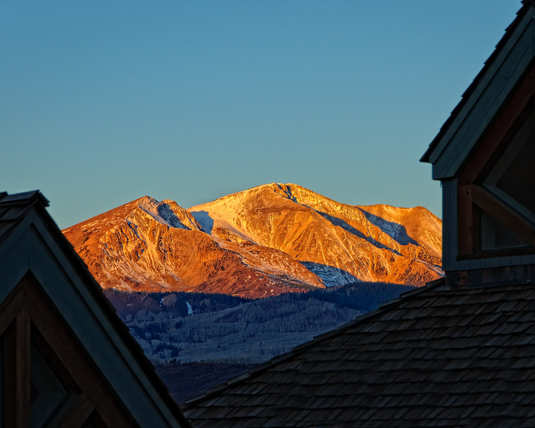 Mt Sopris from the St Benedict's Monastery Retreat House at dawn in late October.  Snowmass, Colorado.