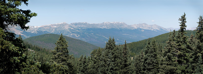 Breckenridge Ski Area, Colorado, seen from across the valley on a summer day.