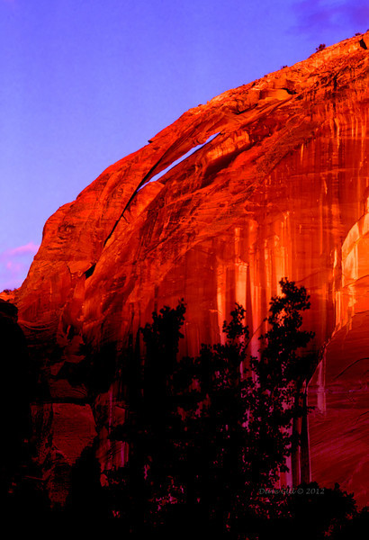 An arch in Utah's Escalante canyon at dawn.