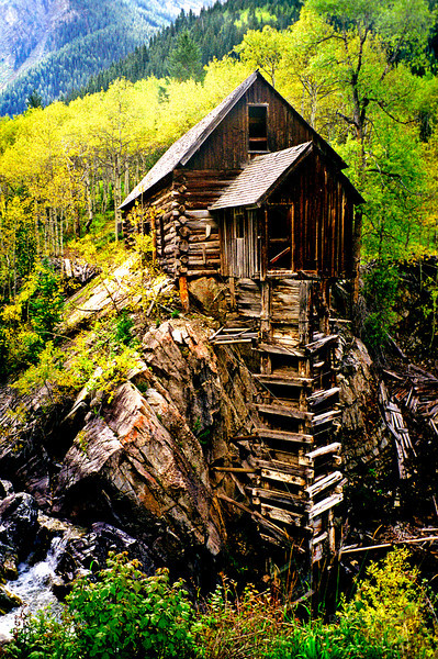 The Old Mill, Crystal, Colorado.  This is one of the most recognizable and most often photographed spots in Colorado.  The Old Mill was a uniquely designed water powered saw mill that transferred power from the water wheel below up to the mill with a vertical drive shaft.