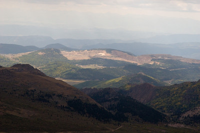The cut-out area in the background is the Cripple Creek gold mining area.