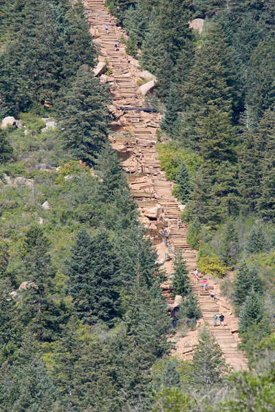 Later, when we were waiting to get on the cog railway to ride to the top of Pikes Peak, we were close enough to see that it was a stairway with people walking on it!