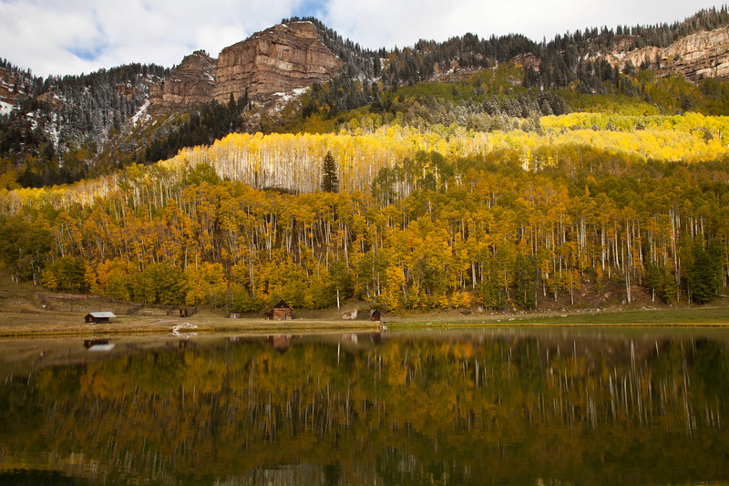 Another photograph of a ranch North of Durango, Colorado.  I have to stop and look at this scene every time I pass it, but I especially enjoy it with the changing leaves and snow on the mountains.