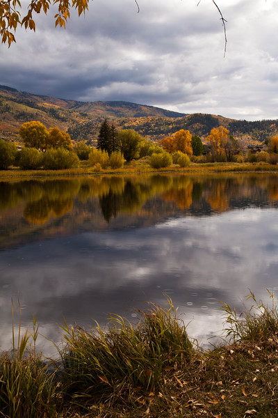 Casey's Pond, Steamboat Springs, Colorado during a light rain storm.