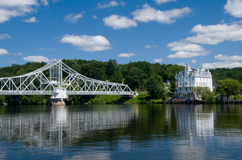 "DSC_2009-10635 copy. Swing bridge crossing the Connecticut River at East Haddam, Connecticut, Built in 1913, it's reputed to be the longest swing bridge in the world.  The Goodspeed Opera House <a href=""http://www.goodspeed.org/"">http://www.goodspeed.org/</a>   sits patiently on the far bank."