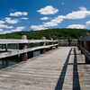 DSC_2009-10625 copy.  One of three docks along the Eagles Landing State Park along the Connecticut River in Haddam, Connecticut.  In the far-ground is the Goodspeed Airport in East Haddam, CT