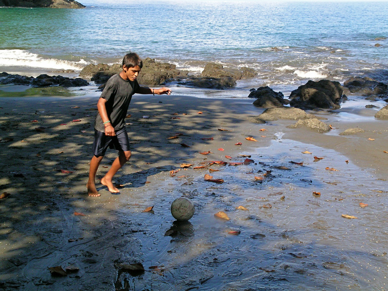 Soccer field, Costa Rican style. Bryan practicing his shot on the beach where he grew up at Campanario, Osa Peninsula, Costa Rica.