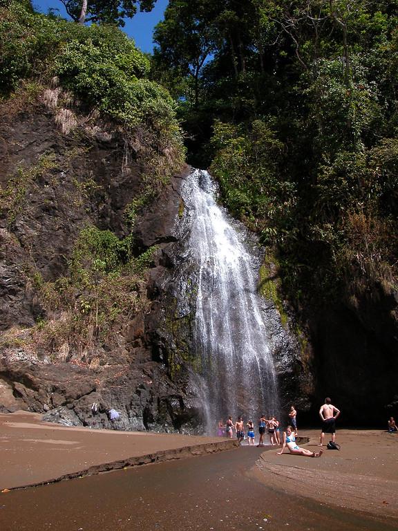 Waterfall on the beach at Playa Llorona, Corcovado National Park, Osa Peninsula, Costa Rica
