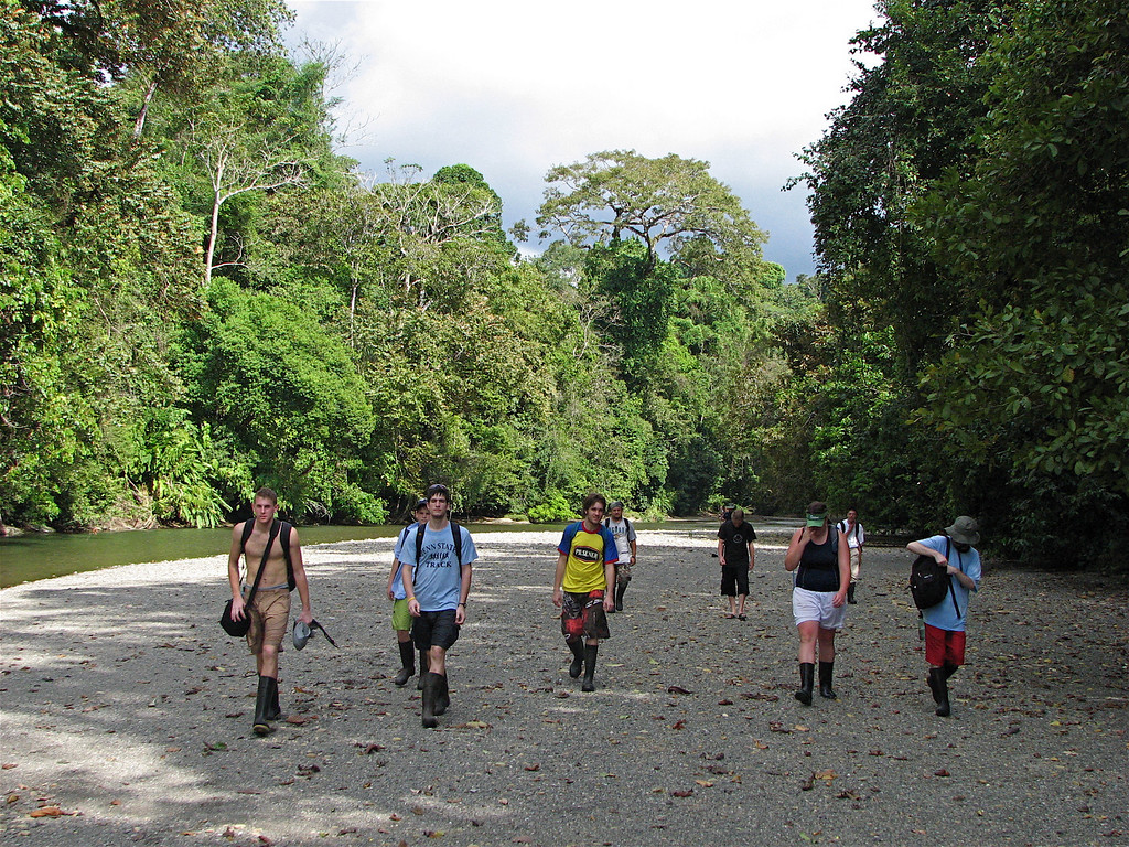 Student group alongside the Rio Claro, Corcovado National Park, Costa Rica, early in the dry season.