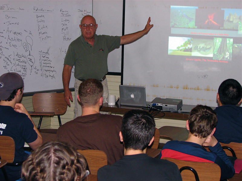 """Alvaro Ugalde, often called the father of the Costa Rican national park system and named """"environmental leader of the century"""" in 1999 by Time maganzine, gives a guest lecture for Penn State's Tropical Ecology course."""