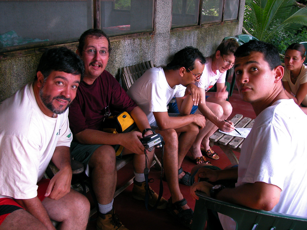 Four wonderful Costa Rican biologists and friends that I've had the pleasure to work with.  Jose Manuel Mora, Eduardo Carrillo, Oscar Rocha, and Jorge Mena.  Planning some tropical ecology course work on the porch at Campanario, Osa Peninsula, Costa Rica.