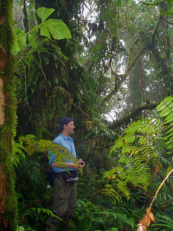 Jim Marden in forest atop a ridge at Alberto Manuel Brenes Biological Reserve, Costa Rica.