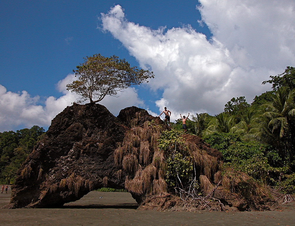 Rock arch on the beach at Playa Llorona, Corcovado National Park, Osa Peninsula, Costa Rica